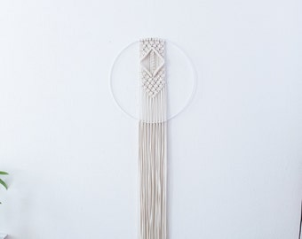 Macramé wall hanging // Boho wall hanging // White metal hoop/ring