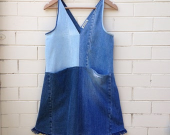 Colour block patchwork denim dress with deep pockets