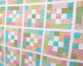 Modern Lap Quilt, Pink and Blue Quilt, Patchwork Quilt, Blanket Ready to Ship