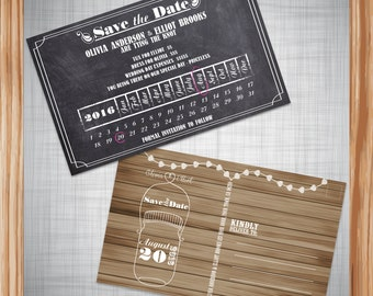 Personalized & Printable Chalkboard And Wood Country Save The Date Postcard