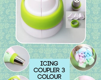 Icing  coupler 3 colour piping coupler trio piping rusian frosting buttercream coupler for tips  free  shipping    buttercream frosting