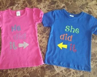 Twins Kids, Twins Shirts, Sibling Shirts, He Did It, She Did It, Kids Shirts, Baby Shirts, Toddler Shirts