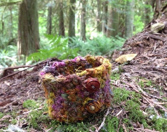Mossy Forest Crocheted Cuff Bracelet S-M-L
