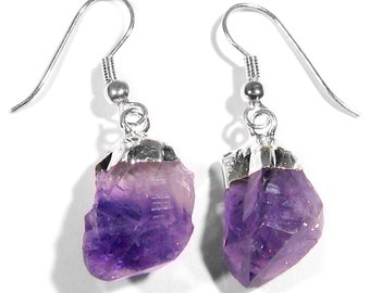 Amethyst Point Earrings Silver Plated Natural Uruguay Purple Amethyst CrystalFREE USA SHIPPING!