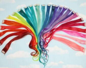 Human and synthetic rainbow hair extensions