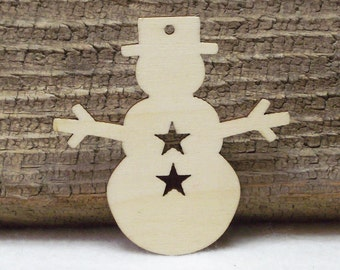 Wood Snowmen Laser Cutouts With A Hole For Hanging