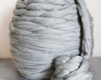 Giant yarn-EXTREME Arm knitting wool- undyed natural grey or white color 100 % merino wool bulky yarn-very thick yarn. 1kg
