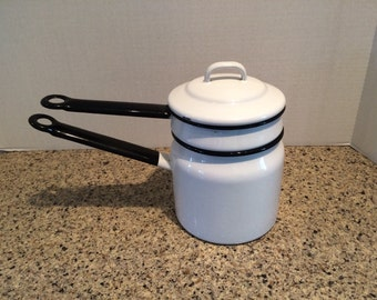 Enamelware Double Boiler Awesome Condition