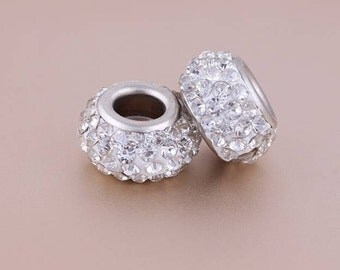 10 Pcs Rhinestone Round Chamilia Beads For bracelets
