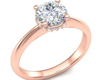 White Yellow or Rose Gold Engagement Ring .10ct Round Halo Ring Semi Mount 1.0 ct Round Center Brand New 14K Setting Only