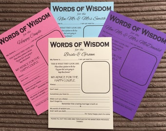 A5 Wedding Words of Wisdom Table Trivia - Bride Groom Advice Game Favour
