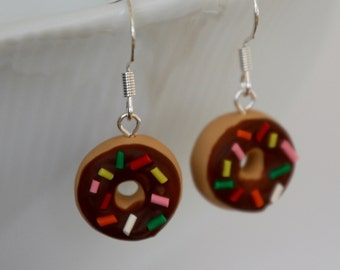 Donut Earrings with Chocolate Frosting and Rainbow Sprinkles - Miniature Polymer Clay Food Jewelry