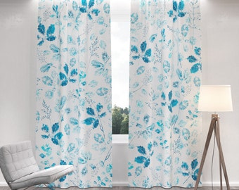SUPER SALE 35% OFF: Blackout Curtains with blue leafs pattern. All sizes. Two Drapery Panel for Living Room and Bedroom. Floral blue
