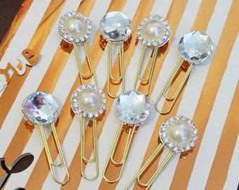 Double sided Pearl & Diamond Paperclips- Planners