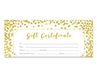 Gold Glitter, Gift Certificate, Premade, printable gift certificate,customer appreciation, Printable, Last Minute Gift Ideas, Gift, Confetti