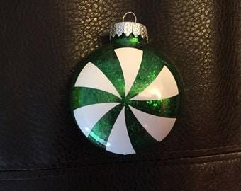 Set of 6 Green Peppermint Ornaments