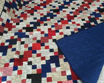 Patriotic Patchwork, red, white, blue, cream, blanket, twin size, handmade, quilt, patriotic, July 4th