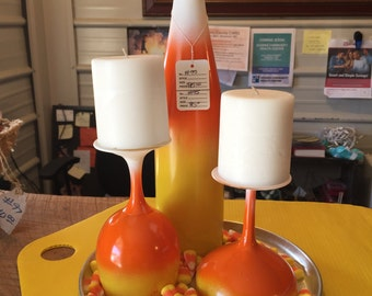 Candy Corn Wine Bottle & Glass Candle Holder