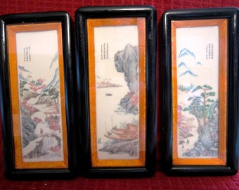 Chinese Shadow Box Wall Plaque in Lacquer Frame