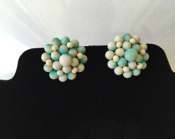 Vintage Chunky Bead clip-on Earrings - blue & white - Japan