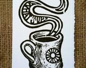 "Coffee Mug Handmade Woodcut Print ""WHAT'S UP?"""