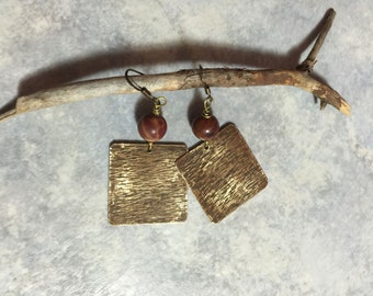 Picasso jasper earrings, hammered brass earrings, antiqued brass earrings