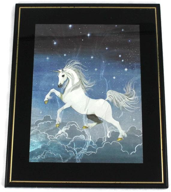 Items similar to Vintage Foil Print Unicorn 80's Framed ...