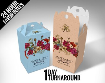 "Personalized ""Vintage Flowers"" Wedding Favor Boxes"