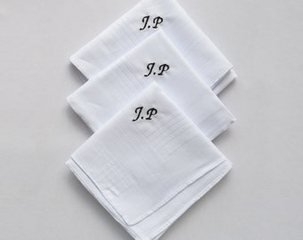 3 X Handkerchiefs Hankies Personalised With Your Initials