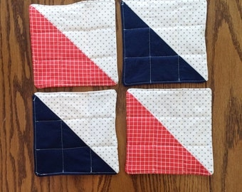 Quilted coasters -- mug rugs -- set of 4