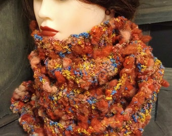 FREE US Shipping!! Handmade Hand Knit Multi Colored Textured Wool Blend Scarf Ready to Ship RTS