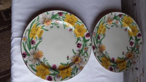 4 Daffodil by Artist Suzanne Clee Lenox Flower Blossom Dessert Plates
