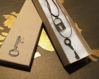 Leather skeleton key and lock necklace (Save Dollars 4)