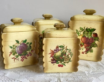 Ceramic Kitchen Canisters | Vintage Ceramic Kitchen Canisters Etsy