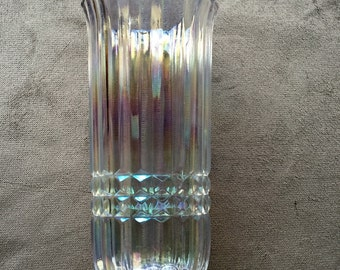 Vintage Iridescent Glass Vase Ridged FTDA Ribbed Glassware Add Roses for a Beautiful Valentine's Day Gift!