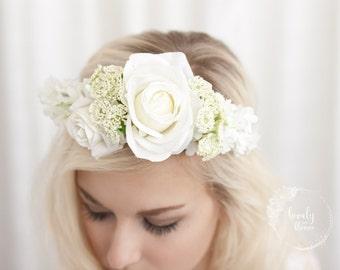 Floral Halo, Flower Crown Girl, Flower Girl Halo, Flower Girl Wreath, Bridesmaid, Flower Crown, Flower Halo, Floral Head Wreath, White Halo