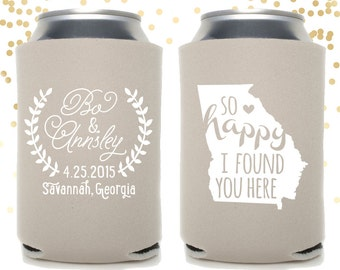 Custom State So Happy I Found You Here Wedding Can Cooler Beer Cozy Favor