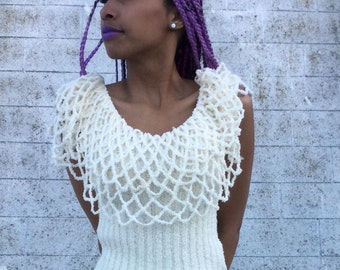 Vintage Cream Off-Shoulder Layered Netting Sweater