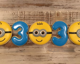 Minion Cookies With Number (1 dozen)