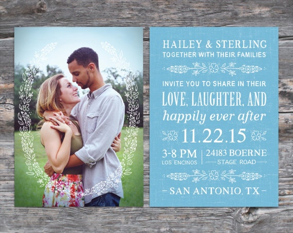 Country Bluebonnet Flowers Photo Wedding Invitation