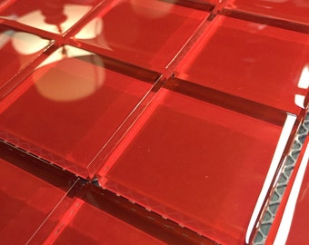 2 inch Red Mosaic Glass Tiles
