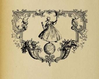 Whimsical Ornate Header With Dancer - Digital Download Image Transfer Pillow Burlap Iron-On Teeshirt Fabric Scrapbooking Digital Stamp