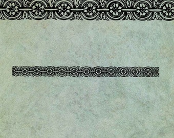 Neoclassical Floral Pattern Border - Antique Style Clear Stamp