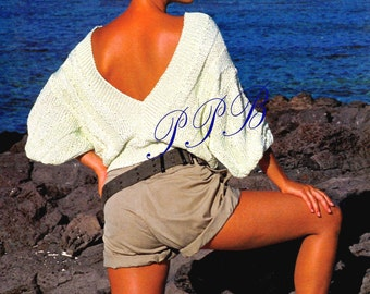 Ladies Knitted V-Back Sweater ~~ Knitted Top ~~ Ladies Knitted Sweater PDF ~~ Spring, Autumn, Summer Top ~~ Digital Download