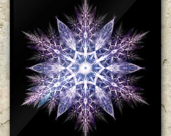 FRACTAL SNOWFLAKE ART – Greeting Cards: sacred geometry, mandala, nature, elemental, winter, christmas, mountain, holistic, metaphysical