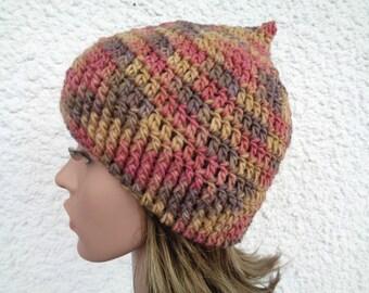 Handpainted crochet hat, pointy hat, pixie hat, womens hat, autumn hat, merino hat, wool hat, merino wool hat, pointed hat, 20 inch, 22 inch