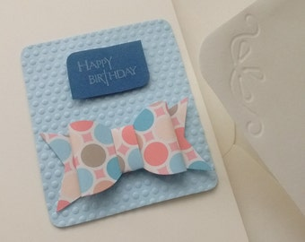 Pretty Happy Birthday card with embossed detail and bow