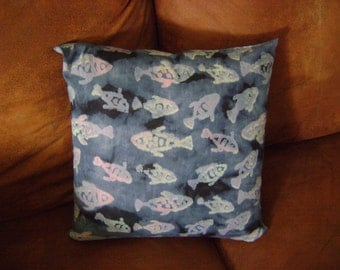 "African Batik Fish Print 16"" Pillow"