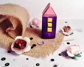 Handmade Little Purple Clay House OOAK - Miniature Fairy House