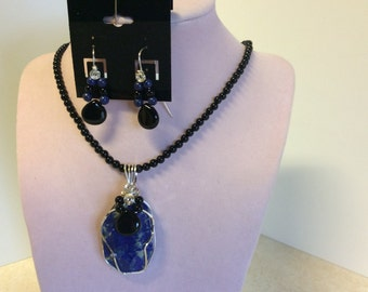 Lapis, black onyx,necklace and earrings set